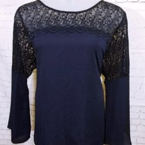 GIFT ALERT Roz & Ali Navy Lace Inset Blouse NWT